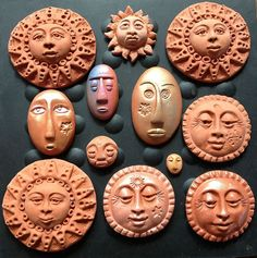 Altering Polymer Clay Art Faces Made with Commercial Molds : Terra cotta Faces, altered molded face, by Karen A. Commercial Maureen Carlson push molds were used. Polymer Clay Kunst, Fimo Clay, Ceramic Clay, Clay Beads, Polymer Clay Jewelry, Ceramic Bowls, Clay Earrings, Clay Art Projects, Polymer Clay Projects
