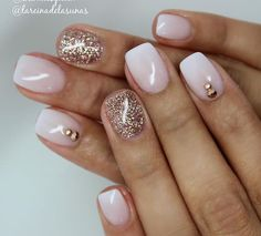 White ombre and gold nails
