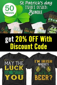 50 Editable St Patrick s day Tshirt Design Want to create trendy t-shirt designs in minutes? This 50 Editable t-shirt design bundle will make your t-shirt designs stand out like never before. This bundle contains 50 premium designs in vector format Here is 20% off discount code: btd20off T Shirt Design Template, Vector Format, St Patricks Day, Design Bundles, Cool T Shirts, Funny Tshirts, Shirt Designs, Make It Yourself, Create