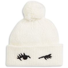 Kate Spade New York Broome Street Wink Beanie ($58) ❤ liked on Polyvore featuring accessories, hats, beanies, cream, cream beanie hat, kate spade hat, beanie cap hat, stitch hat and cream beanie