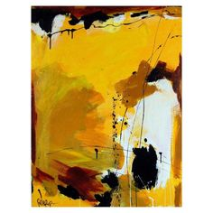Robbie Kemper Yellow & Black Abstract Painting
