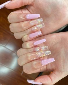 Bling Acrylic Nails, Acrylic Nails Coffin Short, Simple Acrylic Nails, Best Acrylic Nails, Light Pink Acrylic Nails, Marble Acrylic Nails, Colored Acrylic Nails, Pink Coffin, Gold Nail