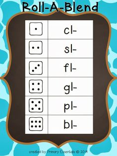 Free: Roll a Blend game for young readers. Students take turns rolling and creating words with the corresponding blend.