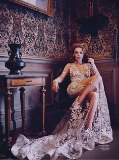 Publication: Vogue Australia May 2014 Model: Kylie Minogue Photographer: Will Davidson Fashion Editor: Ondine Azoulay Hair: Kerry Warn Make-Up: Georgina Graham