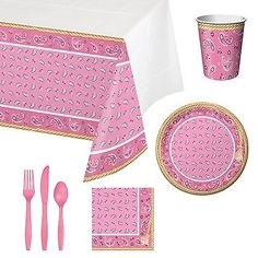 Pink Bandana Cowgirl Tableware Party Bundle for 16 Includes Plates Napki... NEW  sc 1 st  Pinterest & Pink Bandana Cowgirl Metallic Balloon/Case of 10 | Metallic balloons ...