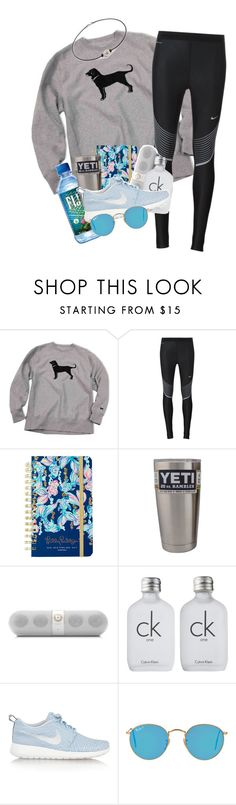 """""""pops of blue"""" by sophie-dye ❤ liked on Polyvore featuring NIKE, Lilly Pulitzer, Beats by Dr. Dre, Calvin Klein and Ray-Ban"""