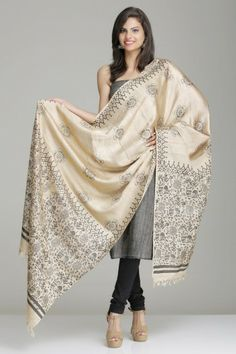 Beige Tussar-Kela Silk Dupatta With Floral Theme Tribal Hand Block Print