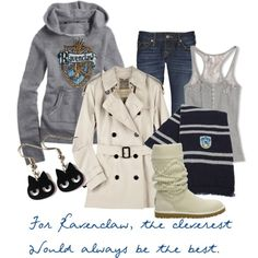Ravenclaw outfit via Polyvore. I love it all with the exception of the Uggly Ugg boots.