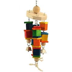 This Large Wind Chime Carousel Parrot Toy has lots of natural and coloured wood, but it all moves around making grabbing it just a little bit trickier.
