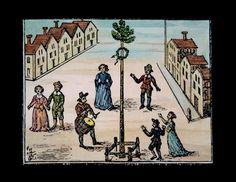 A 17th-century woodcut shows people dancing around the maypole. (Topfoto)