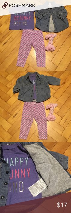 3 Month outfit for Baby Girl Purple graphic carter's shirt, lined blue jean shirt that I️ used as a jacket, pink/purple/silver leggings, and a pair of pink ruffle socks. All washed. Worn gently but no sign of wear. Carter's Shirts & Tops Tees - Short Sleeve