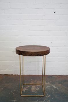 Crescent Side Table Solid Walnut and Brass Base by dylangrey