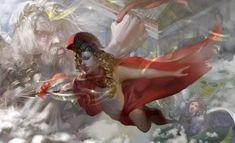 Athena by Weile Zhang on ArtStation. Art Nouveau, Athena Goddess, Moon Goddess, Collage, Fantasy Art, Fantasy Warrior, Mythology, Art Projects, Art Drawings