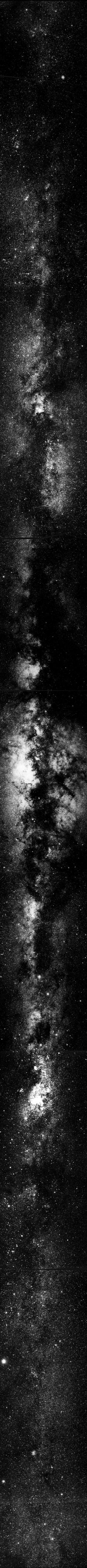 This is where we live, the Milky Way Galaxy. Holy shit, every one of those dots is a fucking sun. Sometimes I forget how absolutely incredible this world is. via the Two Micron All Sky Survey using, in part, the Very Large Telescope in the Atacama Desert in Chile.