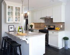 Wentworth Studio - kitchens - white shaker cabinets, white kitchen cabinets, white granite, white granite countertops, Italian porcelain floors?