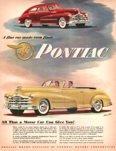 1948 Pontiac car print ad Yellow Convertible by Vividiom on Etsy, $8.00