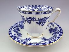 Vintage Crown Staffordshire England Blue Tea Cup and Saucer Set. Tea Cup Set, My Cup Of Tea, Cup And Saucer Set, Tea Cup Saucer, Antique Tea Cups, Vintage Cups, Vintage Tea, English Tea Cups, Vintage Dinnerware