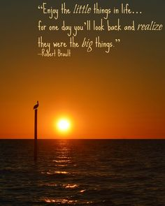 """Enjoy the little things in life... for one day you'll look back and realize they were the big things."" -Robert Brault"