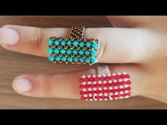 Nazo Ring Row Knitting Easy Method – Welcome Diy Jewelry Rings, Diy Jewelry Unique, Diy Jewelry To Sell, Beaded Rings, Jewelry Art, Beaded Jewelry, Jewelry Making, Beaded Bracelets, Tutorial Anillo