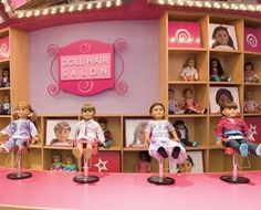 In the Doll Hair Salon, girls can seat their dolls at miniature salon chairs and commission new looks for them. White Leather Dining Chairs, Wooden Dining Room Chairs, Outdoor Tables And Chairs, American Girl Place, American Girl Store, Herman Miller Aeron Chair, Upholstered Swivel Chairs, Salon Chairs, Stackable Chairs