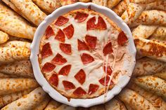 We love this yummy Pepperoni Pizza Dip #recipe to go with our New York Style Everything Bagel Crisps. www.newyorkstyle.com