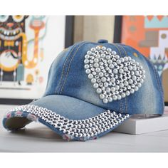 Women Loving Heart Bling Rhinestone Sport Jeans Baseball Golf Cap Hat - - - hats for women Fancy Hats, Cute Hats, Bone Bordado, Diva Design, Diy Hat, Diy Hair Accessories, Outfits With Hats, Snapback Hats, Hats For Women