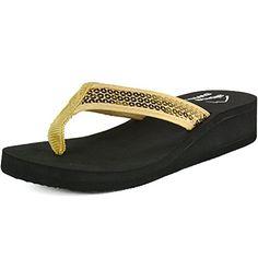 b9d76f1a57dc9 Alpine Swiss Womens Sequin Wedge Heel Sandals Thong Flip Flops Gold 6 M US  --