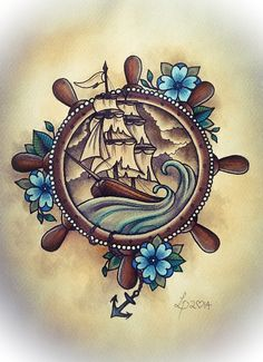 Trendy Tattoo Old School Ship Nautical Ideas Trendy Tattoo Old School Ship Nautical IdeasYou can find Ship tattoos and more on our website.Trendy Tattoo Old Scho. Navy Tattoos, Trendy Tattoos, Cool Tattoos, Ankle Tattoos, Sea Tattoo, Tattoo You, Tattoo Small, Body Art Tattoos, Sleeve Tattoos