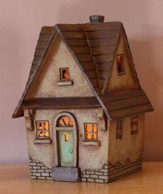 miniature illuminated clay house ceramic lamp home decor handmade art Clay Houses, Ceramic Houses, Miniature Crafts, Miniature Houses, Clay Projects, Clay Crafts, Ceramic Pottery, Ceramic Art, House Number Plates
