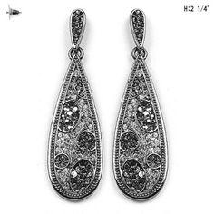 "Leopard BLING Animal Print Gray(Hematite) Clear & Black Rhinestone & Crystal 2"" Light weight Dainty Dangle Earrings by Jersey Bling: Jewelry: Amazon.com"
