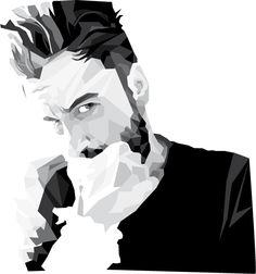 Portrait #lines #vectors #b&w