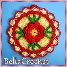 BellaCrochet: Country Rose Decorative Potholder: A Free Crochet Pattern For You