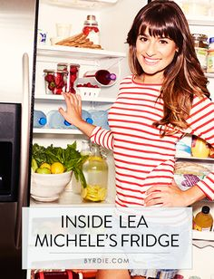 Want to eat like a #celebrity? Here's what Lea Michele keeps in her refrigerator. // #Health #Food #Fitness