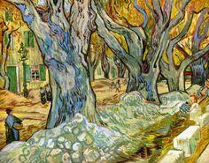 Reproduction de Van Gogh, Les paveurs (Les grands platanes). Tableau peint à la main dans nos ateliers. Peinture à l'huile sur toile.