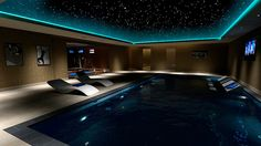 Midnight Swim--This is everything I love--a night sky, a pool, maybe the bedroom or game room off to the side of this.