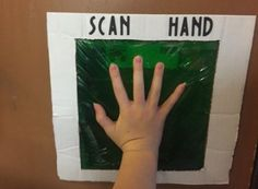 "Put it over the doorbell! Or a prop door that automatically opens when you press the ""scanner"". Hand scanner for mad scientist party - Dollar store hair gel mixed with green food coloring and put into a gallon Baggie."
