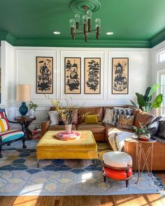 Colourful Living Room, Living Room Colors, My Living Room, Home And Living, Living Spaces, Living Room Decor, Dining Room, Home Interior Design, Interior Decorating