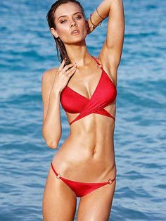 Wrapped up & red-hot. / Wrap Halter Top / Victoria's Secret Swim 2014