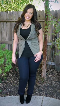 Green Vest and Skinny Jeans