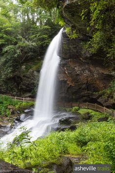 Dry Falls is one of the best, family-friendly waterfall hikes near Highlands and Cashiers, North Carolina