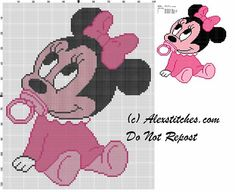 baby minnie with pacifier cross stitch pattern