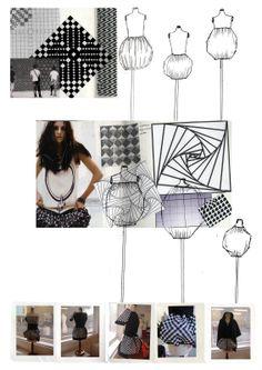 Fashion portfolio - fashion design dress sketches, illusion print pattern d Sketchbook Layout, Textiles Sketchbook, Fashion Sketchbook, Fashion Sketches, Fashion Drawings, Sketchbook Ideas, Fashion Illustrations, Fashion Portfolio, Portfolio Design