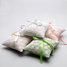 Ring Pillow - Wedding ring pillow, Crochet ring pillow, Lace bridal ring pillow. $40,00, via Etsy.