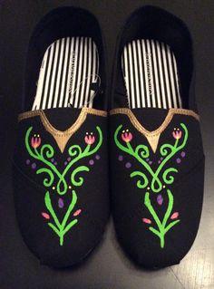 Frozen Anna's Dress Design Shoes Birthday by CustomShoesbySabrina