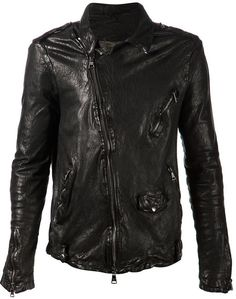 $2,125, Black Leather Biker Jacket: Giorgio Brato Crumpled Biker Jacket. Sold by farfetch.com. Click for more info: https://lookastic.com/men/shop_items/290965/redirect