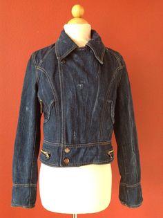YES LONDON Made In Italy Crop Distressed Denim Jean Moto Jacket Size 42 #YESLONDON #JeanJacket