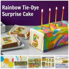 Rainbow tie-dye birthday cake