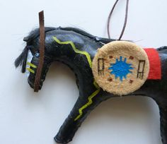 Native American Indian horse model spirit pony doll war paint primitive folk art country rustic leather saddle tack shield cowboy cowgirl