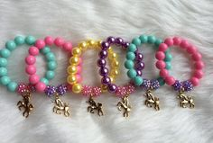Unicorn party favor bracelet.. Unicorn charm by GirlzNGlitter