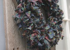 A fabulous winter scrap fabric flannel wreath -- adds that little touch of warm and cozy to your winter decor!
